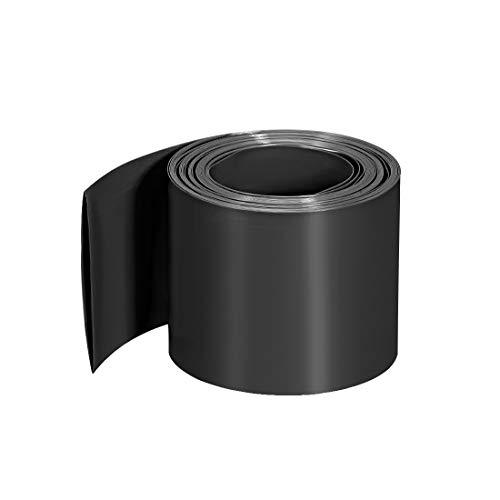 sourcing map PVC-Schrumpfschlauch 60 mm flache Breite Vorgeschnittener Schrumpfschlauch für drei 18650 2 m lange Schwarz