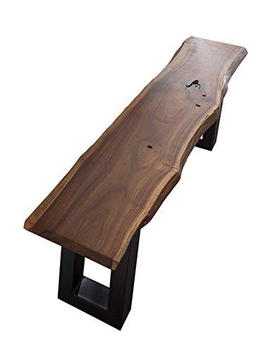 Junado Baumkantenbank Quentin Massive Holzbank, Akazien-Holz, echte Baumkante, Sitzbank ist Unikat, schwarz lackiertes Kufengestell, 180 x 40 cm