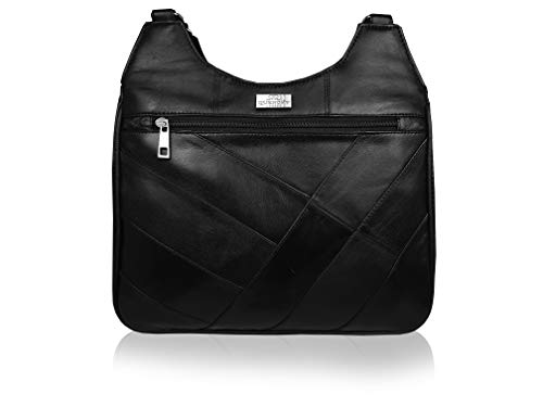 Quenchy London Bolso Bandolera de Mujer Negro de Piel con 2 Correas - Moderno Bolso de Diseño de Tamaño Mediano con 5 Bolsillos y Compartimentos Incluido Espacio para Móvil - QL188K