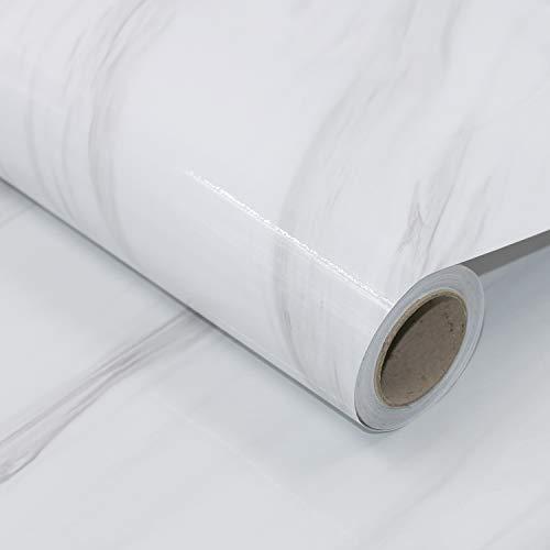 AWNIC Tischfolie Marmor Folie Selbstklebend Klebefolie für Küchenschränke Fensterbank Dekorfolie Küchenarbeitsplatte Folie Wasserfest 40 x 300cm