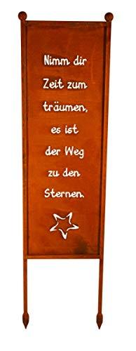Bornhöft Schild/Spruchtafel Gartenschild Edelrost Rost zum Einstecken rostige Gartendeko (Nimm dir Zeit zum träumen es ist der Weg zu den Sternen)