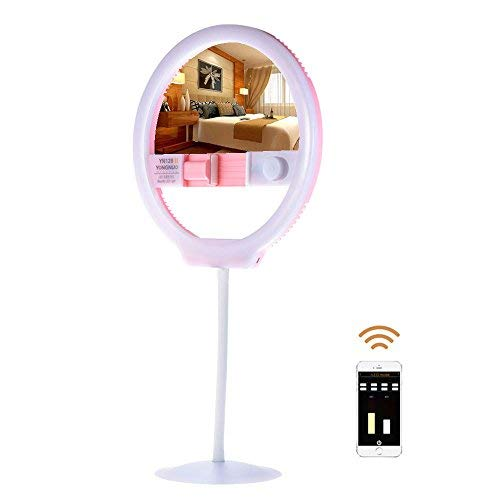 YONGNUO YN128 II (Cosmetic Mirror Version) Portable Photography Ring Light Bicolor Beautify LED Light for DSLR Camera iPhone Sumsang Phone Live Video Selfie Pink + WINGONEER Diffuser