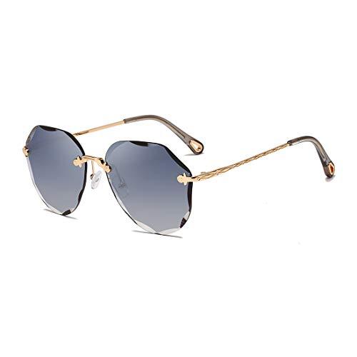AEVOGUE Sunglasses For Women Oversized Rimless Diamond Cutting Lens Sun Glasses AE0534 (Gold Frame/Gradient Blue)