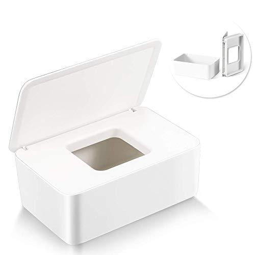 Feuchttücher-Box,Baby Feuchttücherbox,Toilettenpapier Box,Baby Tücher Fall,Tissue Aufbewahrungskoffer,Taschentuchhalter,Kunststoff Feuchttücher Spender,Tücherbox,Serviettenbox (Weiß)