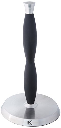 Eekay Wares Upright, Stainless Steel, Silicone Grip, Counter Top Easy Tear Paper Towel Holder - Fits All Roll Sizes