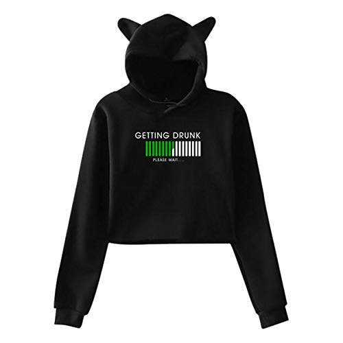 Getting Drunk Cat Ear Hoodie Sweater Soft Classic Black Large