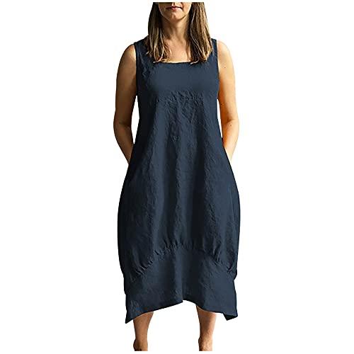 neiabodos Abito Donna Dress Senza Maniche in Cotone e Lino con 2 Tasca Moda Estiva Vestito Casual in Tinta Unita con Colletto Quadrato Gonna da Spiaggia Fresca Allentata e Traspirante