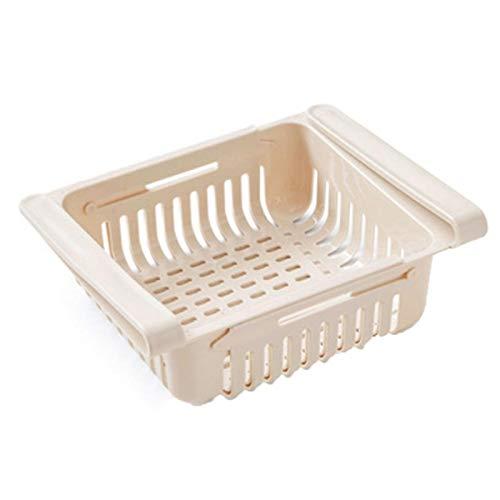 Cocina Ajustable Refrigerador Almacenamiento de refrigerador Frigorífico Congelador Estante de Estante Pensión Drawer Organizador Placa de Estante Capa (Color : Beige)