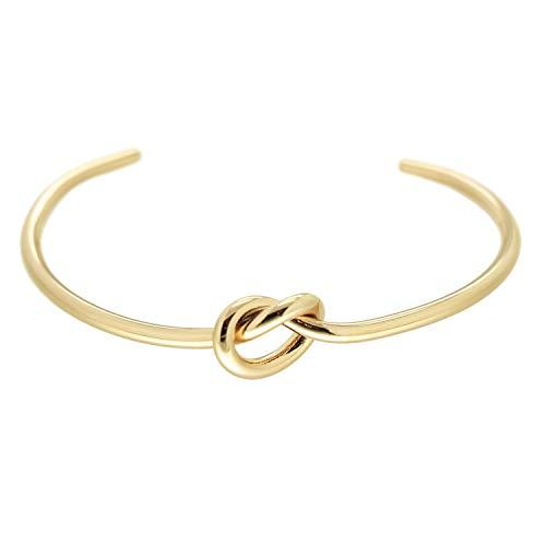 Sweet Deluxe Armspange Knot, Gold I Armschmuck für Damen & Mädchen | Girl Armreifen | Geschenk-Idee für Geburtstag, Hochzeit, Verlobung | Bangle Frauen Armkettchen