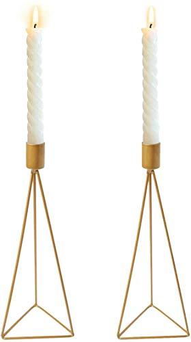 Wuudi Kerzenständer Kerzenhalter Kerzenleuchter 2er Set, Metall Deko Kerzenständer, Kerzen Ständer Tischdeko Hochzeit (Golden)