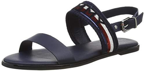 Tommy Hilfiger Tommy Sequins Flat Sandal, Punta Chiusa Donna, Blu (Sport Navy Db9), 41 EU