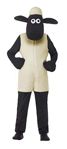 Smiffy'S 20607M Disfraz Infantil De Shaun The Sheep Con Traje Entero Y Adorno, Blanco, M - Edad 7-9 Años