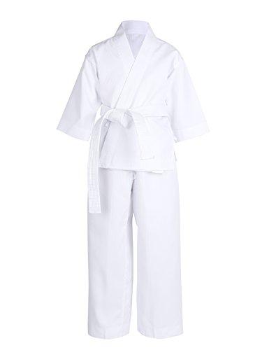 inlzdz Unisexo Kimono de Artes Marciales Infantil Ropa de Taekwondo Traje de Karate de Algodón Manga Larga Cinturón Gratis Niños Adultos Color Blanco Blanco 12-14Años