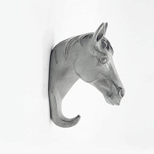 LRW European Creative Thuis wanddecoratie Driedimensionale Animal Grey Horse Head Clasp wanddecoratie Key Frame