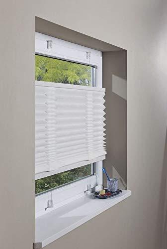 Dekoleidenschaft Plissee Rollo 90x130 weiß, Klemmfix ohne Bohren, Faltrollo, Fensterrollo