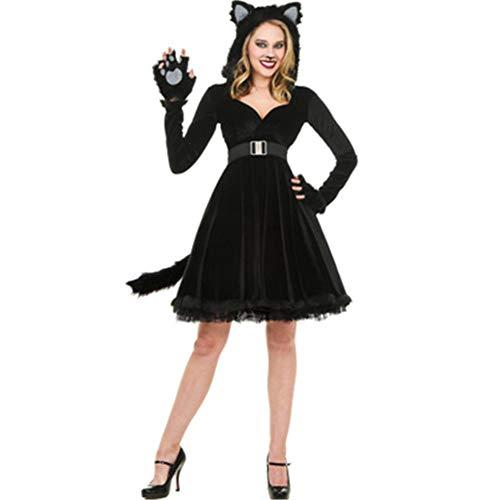 QWER Männlich Weiblich Rollenspiele Paar Black Bear Katzen Männer Anime Cosplay Halloween-Kostüme für Frauen S Fantasia,B,M