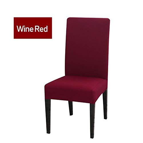 21 kleuren effen kleuren licht beige wit elastische eetkamer bureaustoel bekleding verwijderbare wasbare stretch bekleding bruiloften, wijnrood, 6 stuks