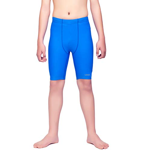 LEAO Youth Boys Swim Jammers Solid Swimsuit UPF 50+ Sun Pretection Quick Dry Athletic Swimming Shorts Royal Blue L