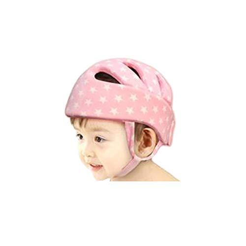 JUEJIDP Baby Soft Helm, Säuglingskopfschutz atmungsaktiv Kopfschutz Einstellbare Schutzkappe for Kleinkinder Lernen Laufen (Color : Pink-Star)