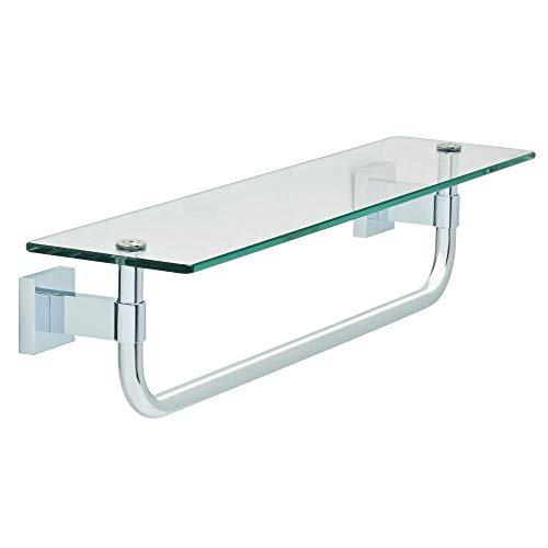 Maxted Glass Shelf with Towel Bar Polished Chrome
