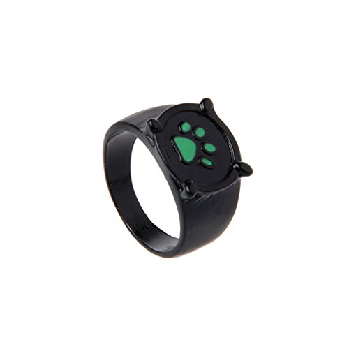 Kalttoy Miraculous Marienkäfer Katze Noir Cartoon Green Pawprint Black Cat Ring für Cosplay