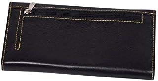 Women Fashion Black Soft Genuine Leather Handbag Wallet Clutch Purse Card Holder