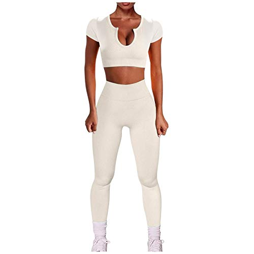 AFFGEQA Damen Yoga-Set Fitness Zweiteiligen Tops Weste Gewinde Crop Shorts Hohe Taille Yoga Shorts Leggings Outfits Trainingsanzug Activewear Set Lange Leggings