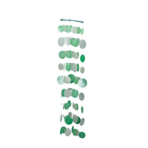 Relaxdays Capiz Windspiel mit Muschel-Girlanden, maritimes Holz Klangspiel für Garten, Fenster, 110 cm lang, grün-weiß