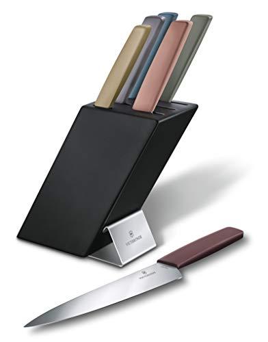 Victorinox Swiss Modern Messerblock, 6-teilig, gefüllt mit 5 Küchenmesser und 1 Gabel, Mehrfarbig, sichere Aufbewahrung, Buchenholz, Holz