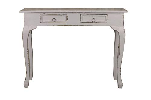 Sunset Trading Shabby Chic Cottage Tisch, Mahagoniholz, Antikgrau, Two Drawer