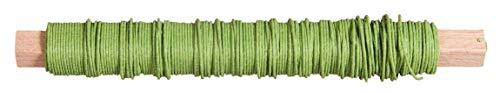 Rayher 24116417 Papierdraht, 0,55 mm ø, auf Holzwickel 50 g, ca. 20 m, Basteldraht, Papier umwickelter Draht, hellgrün, hausergrün hell