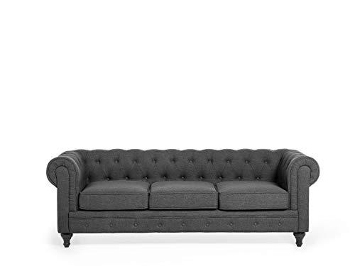 Beliani Klassisches Sofa im englischen Stil Polsterbezug grau Chesterfield | Wohnzimmer > Sofas & Couches > Chesterfield Sofas | Beliani