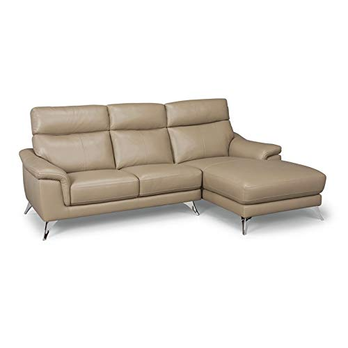 """Home Styles homestyles by Flexsteel Moderno Leather Upholstered Chaise Sofa, W-90 ¾"""", D-58 ¾"""", H-36"""", Beige"""