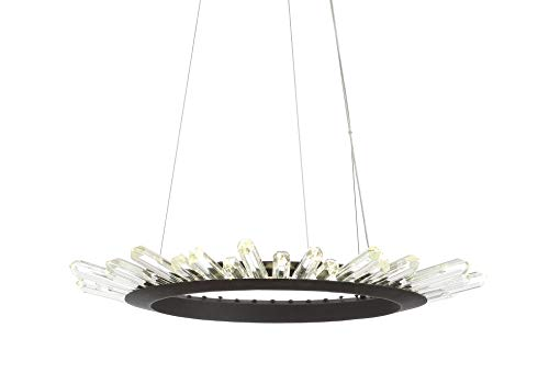 JONATHAN Y JYL7212A Elsa 24' Adjustable Integrated LED Crystal Pendant Modern,Contemporary Dimmable,...