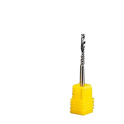 Senza 1 pezzo 3.175 mm gambo 1 flauto fresa a spirale in acciaio al carburo di tungsteno fresa per incidere macchina CNC strumento per MDF, legno massiccio (dimensioni 3.175x1.5x6)
