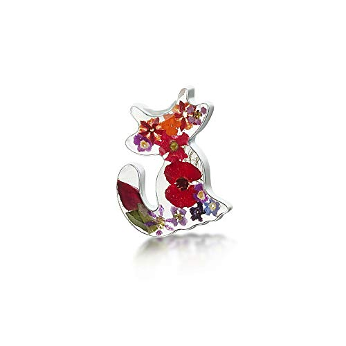 Cat brooch. Handmade silver brooch with real flowers. Perfect gift for cat lover. Includes gift box. Sterling silver brooch & plated pin