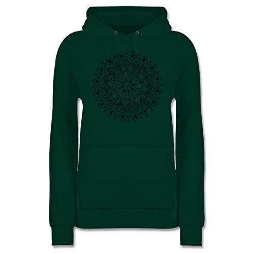 Kunst & Kreativität - Boho Mandala Yoga Sketch - S - Dunkelgrün - Fairtrade - JH001F - Damen Hoodie und Kapuzenpullover für Frauen