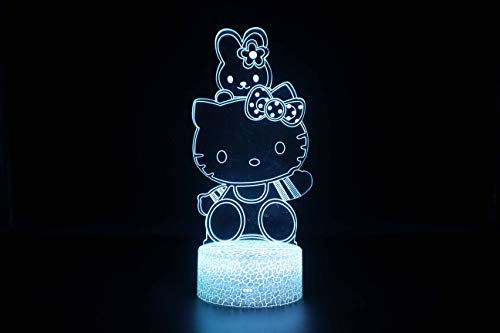 Creative Hello Kitty 3D Illusion Lampe, 7 Couleurs Dégradé Night Light Led Crack Smart Touch Lampe De Table, Lampe De Chevet