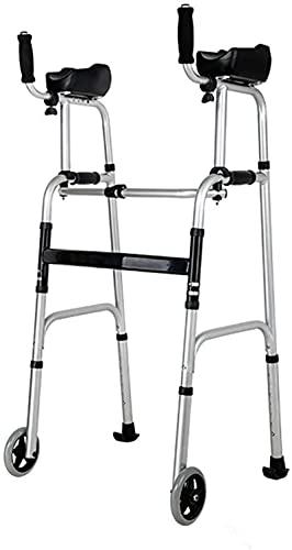 Walker vertical plegable con soporte axilar, aluminio de altura ajustable que rueda caminante con 2 ruedas y almohadillas antideslizantes, para personas mayores con discapacitados adultos