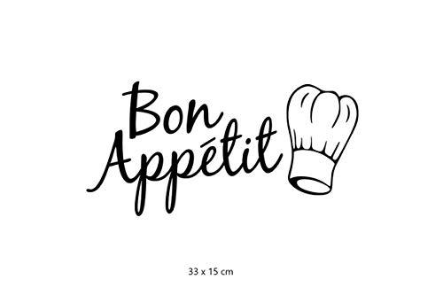 BON APPETIT E LOGO CAPPELLO DA CHEF - Adesivo da parete per cucina o mobili con scritta Bon Appetit - FACILE DA APPLICARE BELLISSIMA DECORAZIONE PER LA TUA CUCINA - DECORAZIONI MURI E PARETI NERO