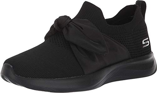 BOBS from Skechers Women's Bobs Squad 2 - bow overlay slip on engineered knit sneaker w memory foam Shoe, bbk, 8 M US
