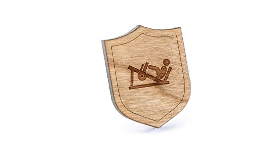 Leg Press Machine Lapel Pin, Wooden Pin and Tie Tack   Rustic and Minimalistic Groomsmen Gifts and Wedding Accessories