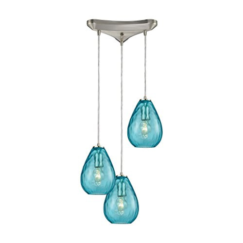 "StarSun Depot Lagoon 3-Light Triangular Pendant Fixture in Satin Nickel with Aqua Water Glass, 10"" W x 10"" De x 9"" H, Silver"