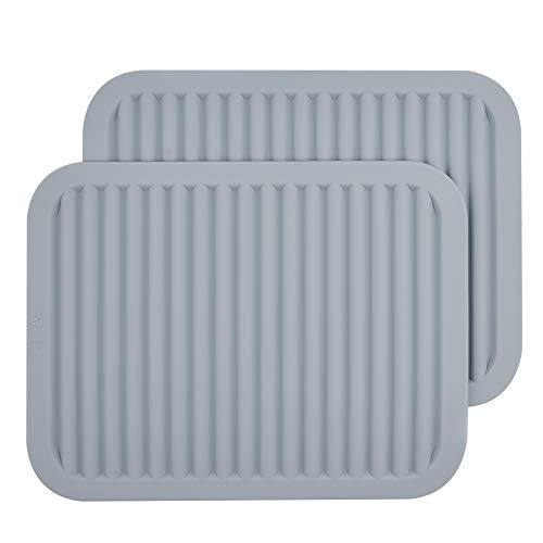 Smithcraft SiliconeTrivet Mat,Trivets for Hot pots and Pans,Silicone Pot Holders,Heat Resistant Mat,Hot Pad for Kitchen Counter 2 Pack,Size:9x12 Inch, Shape:Rectangular (Light Grey)
