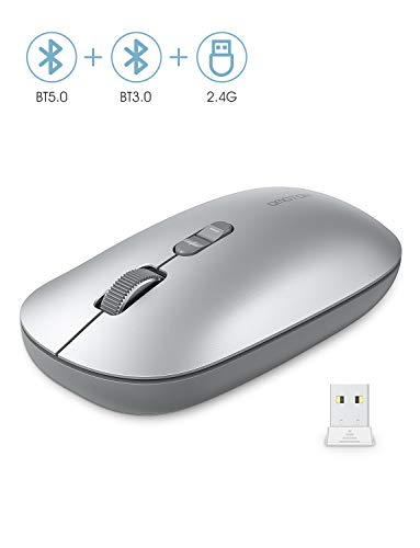 OMOTON Kabellose Maus, Bluetooth5.0 + Bluetooth3.0 + 2.4 GHz Verbindung via Unifying USB-Empfänger, 3 Modus Funkmaus für iPad/PC/Tablet/Laptop mit Windows/Mac/Linux/Android/iOS System, Silber