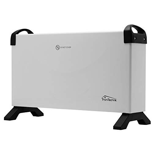 Tronitechnik Konvektionsheizgerät mit 3 Leistungsstufen - Heizgerät, Heizkörper, Glaskonvektor, Elektro-Heizung, mit Thermostat, Tragegriffen, LED, Timer, Thermostatsteuerung, weiß