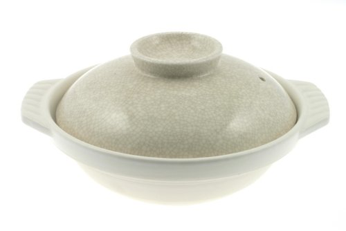 Ivory and Black Crackle 10-3/4-Inch Donabe Japanese Hot Pot, Serves 4 to 5 People