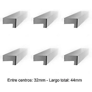 Gedotec GR10090 - Tirador para muebles y armarios (distancia entre ejes: 32 mm, aluminio), color negro y antracita: Amazon.es: Bricolaje y herramientas