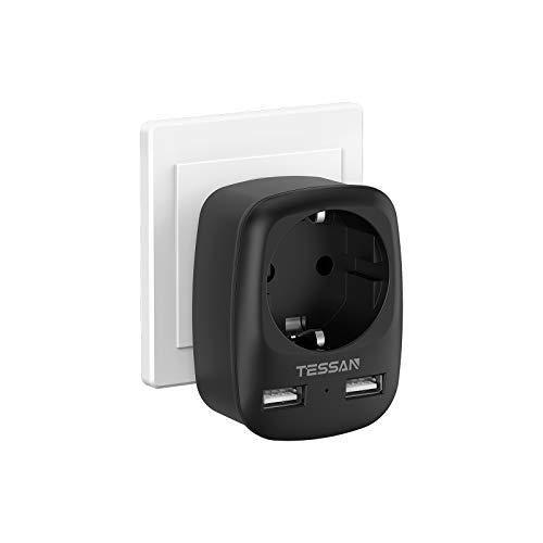 TESSAN USB Steckdose, Steckdose (4000W) mit 2 USB Anschluss (2.4A), Steckdosenadapter USB Adapter Steckdose Schuko Mehrfachstecker, Doppelstecker mit USB Ladegerät Mehrfach für Phone, Laptop