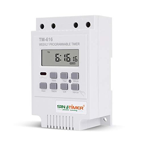 SINOTIMER TM616 Sinotimer Interruptor de Tiempo Digital Semanal Programable 30 amperios Blanco